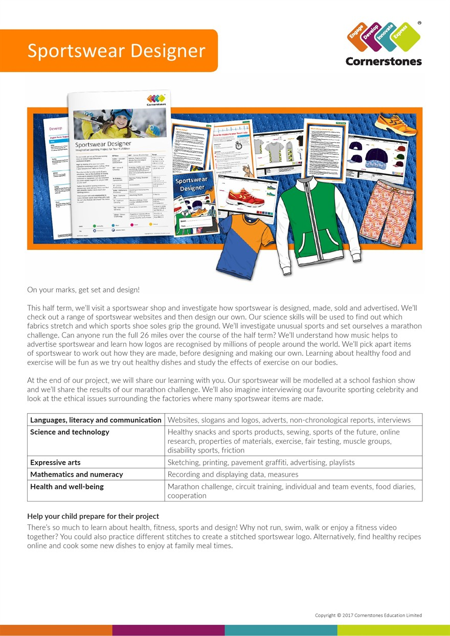 YEAR 4 SPORTWEAR DESIGN PARENT CARER INFORMATION 1